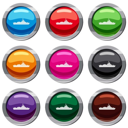 Warship set icon isolated on white. 9 icon collection vector illustration Illustration