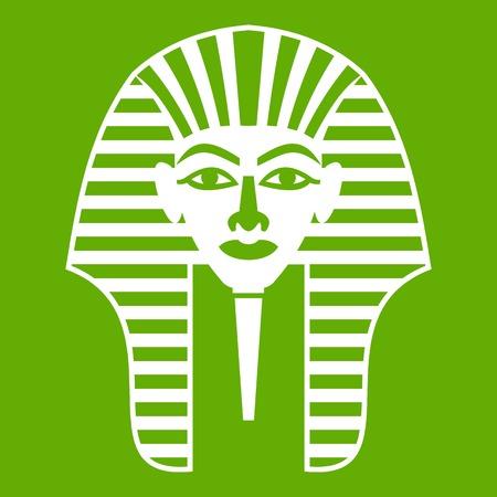 Tutankhamen mask icon white isolated on green background. Vector illustration