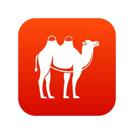 Camel icon digital red for any design isolated on white vector illustration