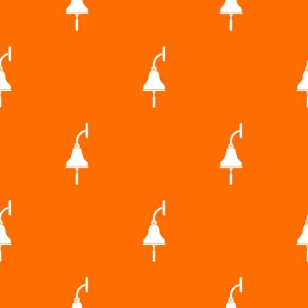 Ship bell pattern repeat seamless in orange color for any design. Vector geometric illustration