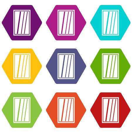 casement: White rectangle window icon set many color hexahedron isolated on white vector illustration