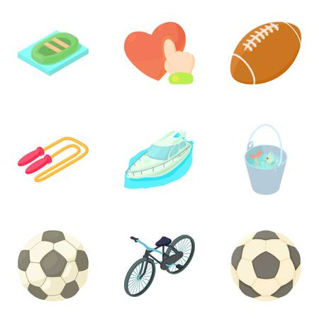 Balls for games icons set. Cartoon set of 9 balls for games vector icons for web isolated on white background