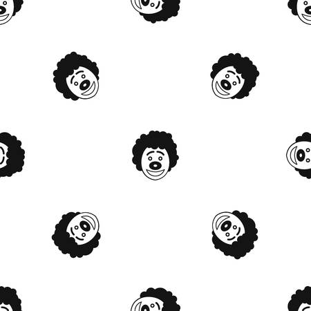 black wigs: Clown head pattern repeat seamless in black color for any design. Vector geometric illustration