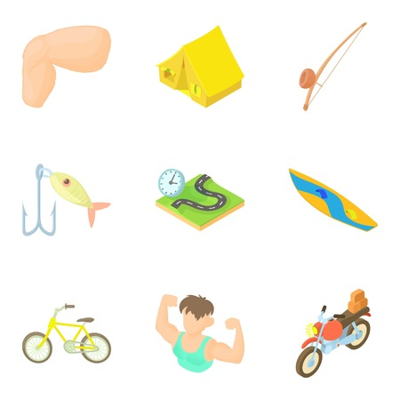 Motorcycling icons set. Cartoon set of 9 motorcycling vector icons for web isolated on white background Illustration