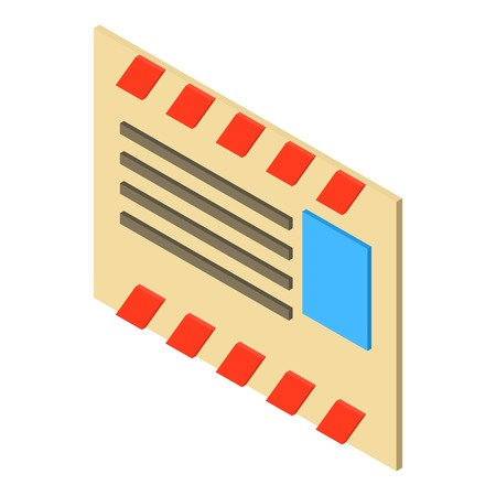 old envelope: Old post envelope icon. Isometric illustration of old post envelope vector icon for web Illustration
