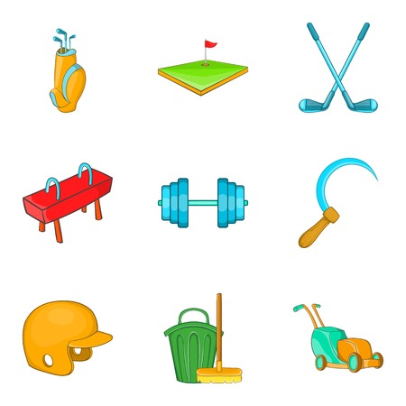 Track icons set. Cartoon set of 9 track vector icons for web isolated on white background