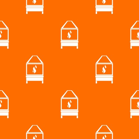 Blacksmith oven with flame fire pattern repeat seamless in orange color for any design. Vector geometric illustration Illustration