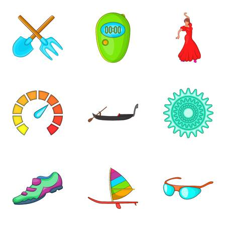 Adrenalin icons set. Cartoon set of 9 adrenalin vector icons for web isolated on white background