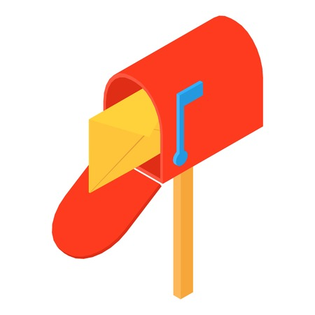Open mailbox icon. Isometric illustration of open mailbox vector icon for web