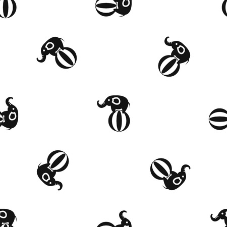 Elephant balancing on a ball pattern repeat seamless in black color for any design. Vector geometric illustration