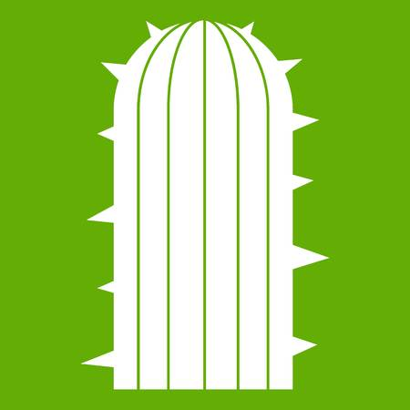 Plant of desert icon white isolated on green background. Vector illustration