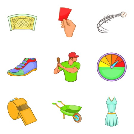 Fair game icons set. Cartoon set of 9 fair game vector icons for web isolated on white background Illustration