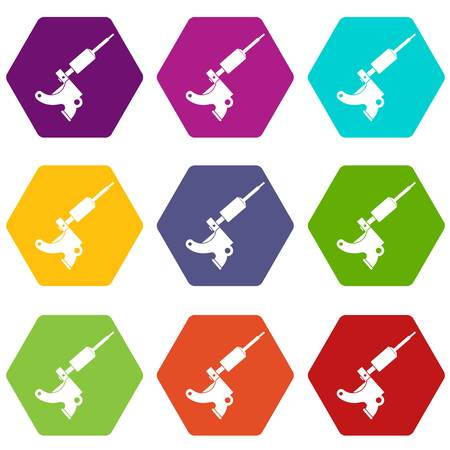 Coil tattoo machine icon set color hexahedron Illustration