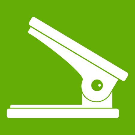 old pc: Office paper hole puncher icon in green background