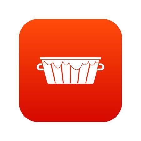 Wooden tub icon digital red.