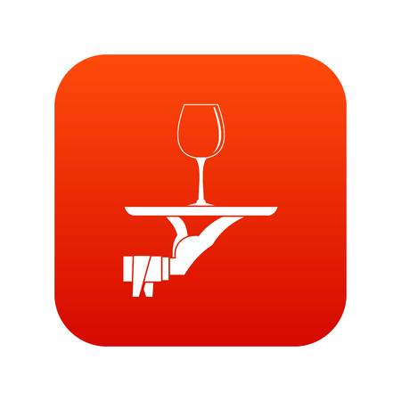 Waiter hand holding tray with wine glass icon digital red for any design isolated on white vector illustration.