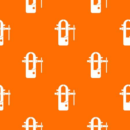 vice grip: Blacksmiths vice pattern repeat seamless in orange color for any design. Vector geometric illustration