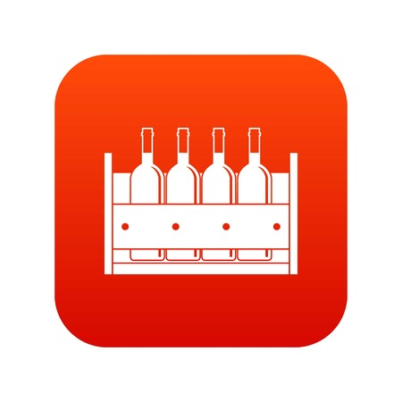 Four bottles of wine in a wooden box icon digital red for any design isolated on white vector illustration