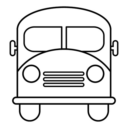 School bus icon outline flat style vector illustration