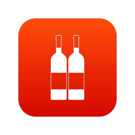 Two bottles of wine icon digital red