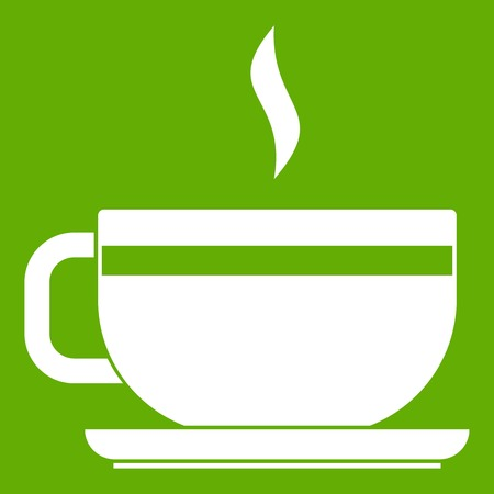 ENT: Tea cup and saucer icon white isolated on green background. Vector illustration Illustration