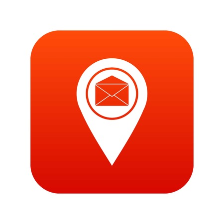 Marker location with envelope sign icon digital red for any design isolated on white vector illustration