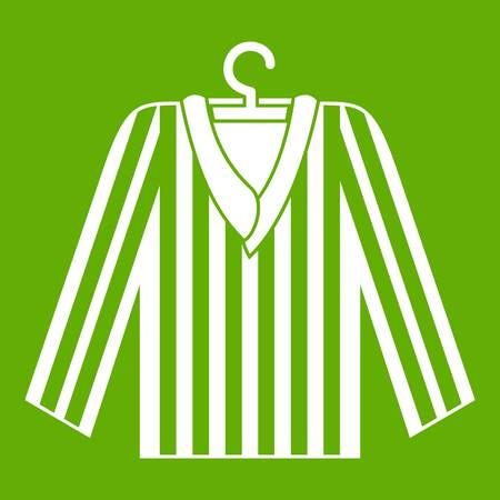 Striped pajama shirt icon white isolated on green background. Vector illustration