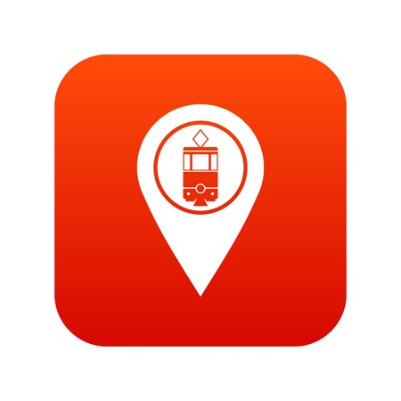 Geo tag with tram sign icon digital red Illustration