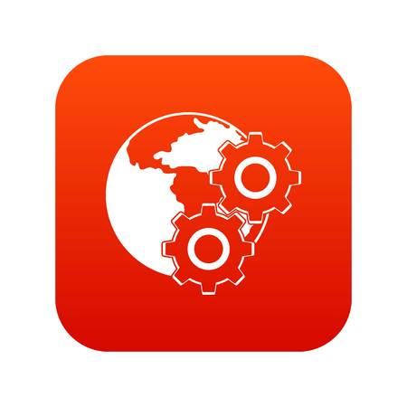 World planet and gears icon digital red