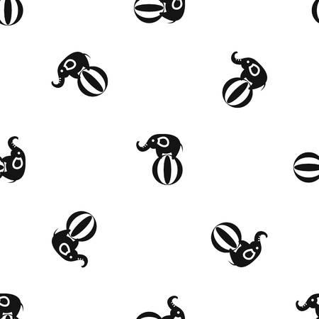 Elephant balancing on a ball pattern seamless black Illustration