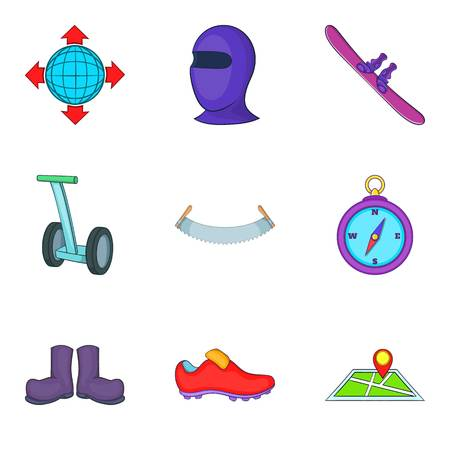 Gaming shoes icons set, cartoon style