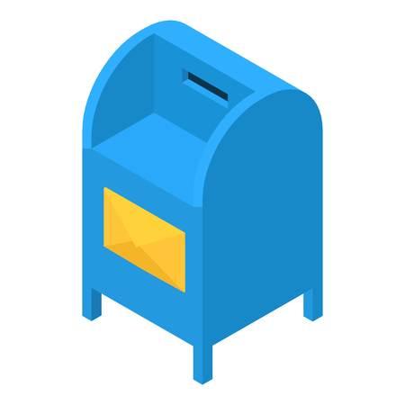 Blue mailbox icon, isometric 3d style vector illustration. Illustration