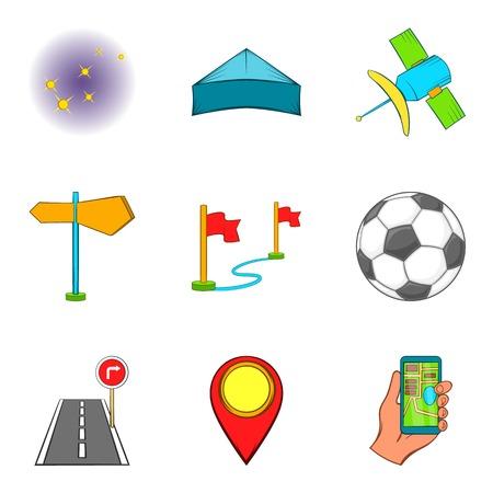 Activity icons set, cartoon style vector illustration. Illustration