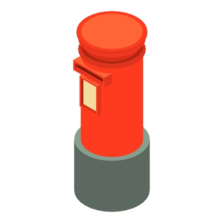 Red mailbox icon, isometric 3d style