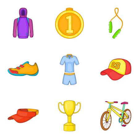 Gold medal icons set, cartoon style