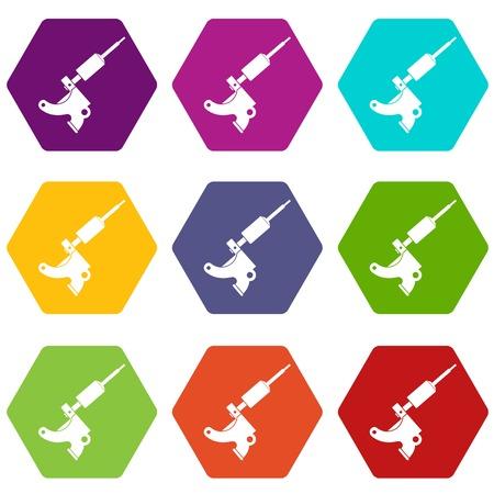 Coil tattoo machine icon set color hexahedron Illustration