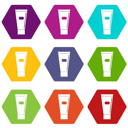 Cosmetic tube of cream or gel icon set many color hexahedron isolated on white vector illustration Illustration