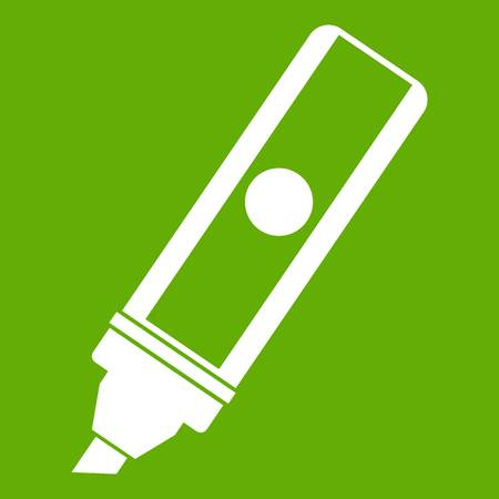 Permanent marker icon white isolated on green background. Vector illustration Illustration