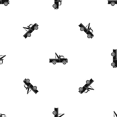 evacuating: Car towing truck pattern repeat seamless in black color for any design. Vector geometric illustration