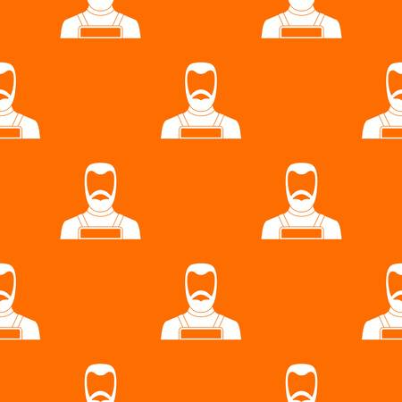 Blacksmith pattern repeat seamless in orange color for any design. Vector geometric illustration