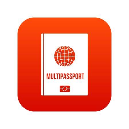 Multipassport icon digital red