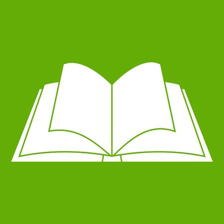Opened book with pages fluttering icon green Illustration