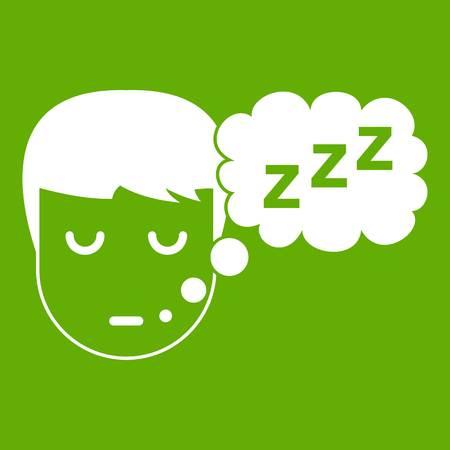 Boy head with speech bubble icon green