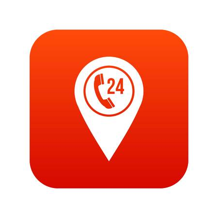 Map pointer with phone handset icon digital red