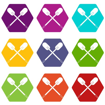 Two wooden crossed oars icon set color hexahedron Illustration