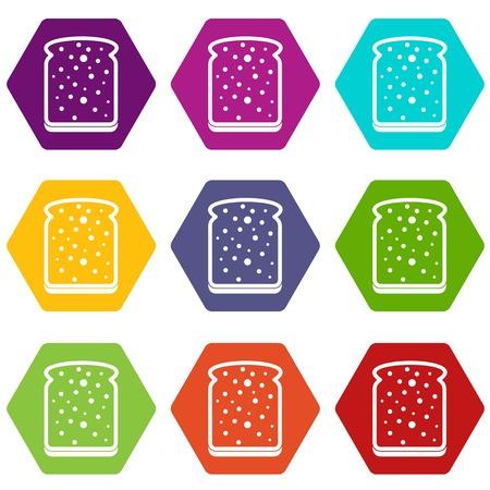 Slice of white bread icon set color hexahedron Illusztráció