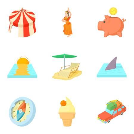 Thrift-box icons set, cartoon style Illustration