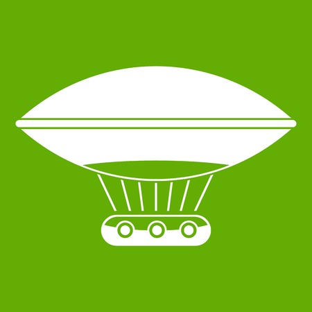Hot air balloon with gondola basket icon white isolated on green background. Vector illustration