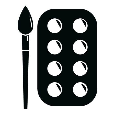 Paint brush palette icon, simple black style