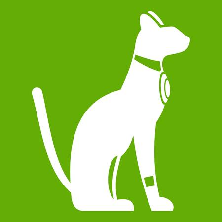 Egyptian cat icon white isolated on green background. Vector illustration